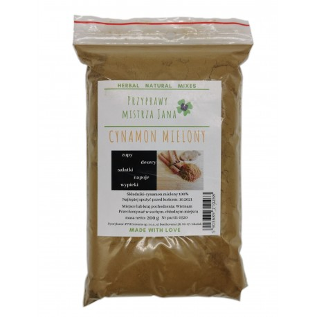 Cynamon mielony 200g bez dodatków - 100 % naturalny