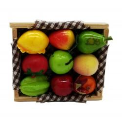 Magnes ozdony na lodówkę skrzyneczka z owocami
