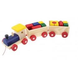 Kolejka drewniana pociąg i wagoniki