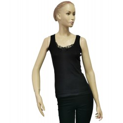 Podkoszulka damska bawełniana na ramiączkach czarna - XL