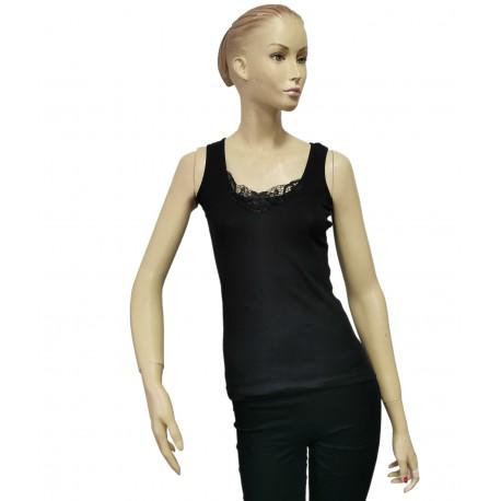 Podkoszulka damska bawełniana na ramiączkach czarna - 2XL