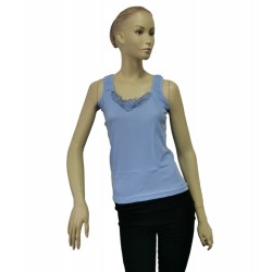 Podkoszulka damska bawełniana na ramiączkach błękitna - L