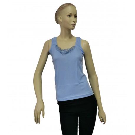 Podkoszulka damska bawełniana na ramiączkach błękitna - 2XL