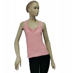 Podkoszulka damska bawełniana na ramiączkach różowa - L