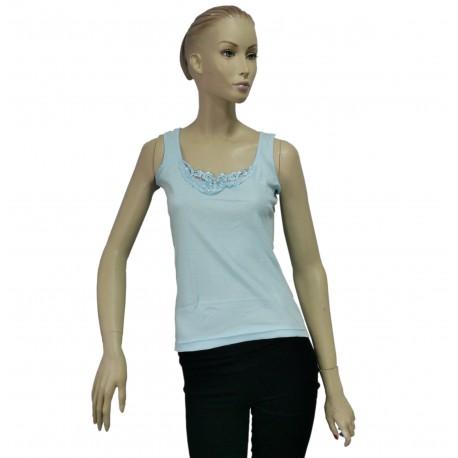 Podkoszulka damska bawełniana na ramiączkach j. błękit - L