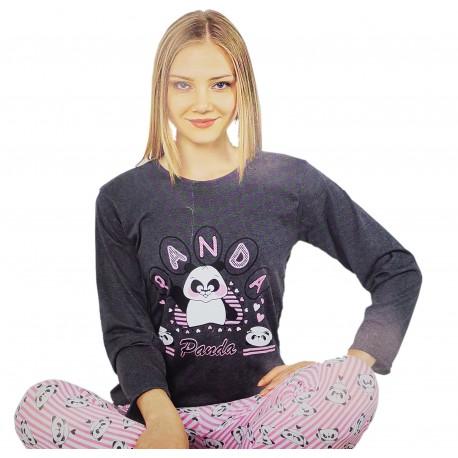 Piżama damska bawełniana długi rękaw r.XL