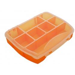 Organizer pojemnik pudełko na śrubki drobiazgi ORANGE - 8 przegródek