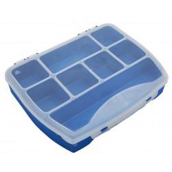 Organizer pojemnik pudełko na śrubki drobiazgi BLUE - 8 przegródek