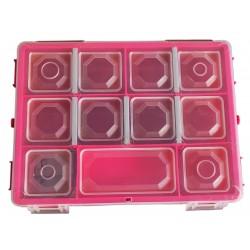 Organizer pojemnik pudełko na śrubki drobiazgi PINK - 11 przegródek