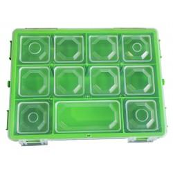 Organizer pojemnik pudełko na śrubki drobiazgi ZIELONY - 6 przegródek