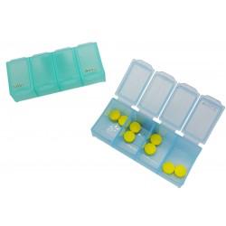 Pudełko na tabletki, pojemnik podróżny na leki rano wieczór 4 przegródki