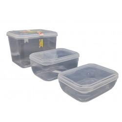 Zestaw 3 pojemników do przechowywania żywności.