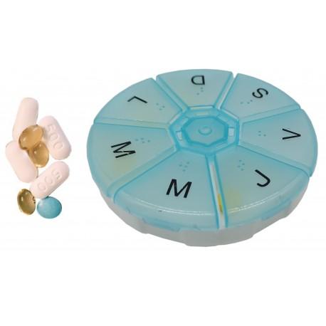 Pudełko na tabletki, pojemnik podróżny na leki okrągły 7 przegródek