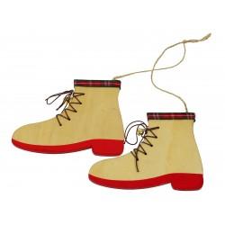Ozdoby choinkowe buty drewniane para