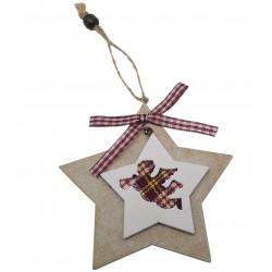 Zawieszka świąteczna drewno z wstążką 10 cm