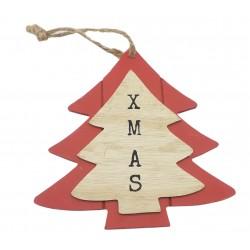 Zawieszka świąteczna drewno z napisem 15 cm kolory