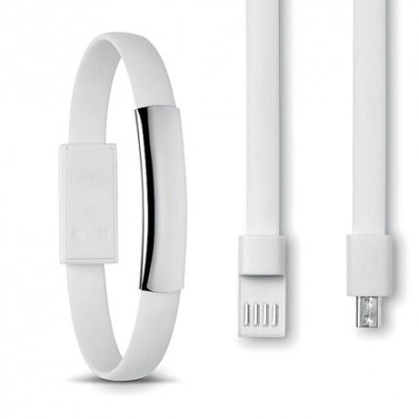 Kabel bransoletka microUSB (biała)