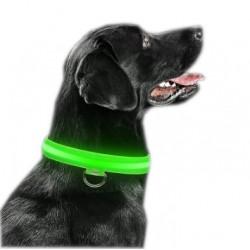 Obroża LED świecąca dla psa na baterie regulowana ZIELONA