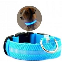 Obroża LED świecąca dla psa na baterie regulowana NIEBIESKA