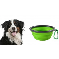 Miska składana silikon dla psa kota podróżna ZIELONA