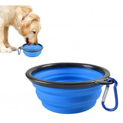 Miska składana silikon dla psa kota podróżna NIEBIESKA