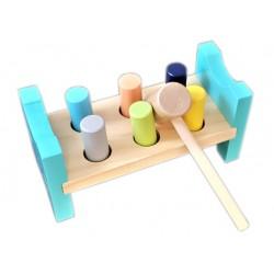 Przebijak drewniany wbijak młotek zabawka dla 2 latka