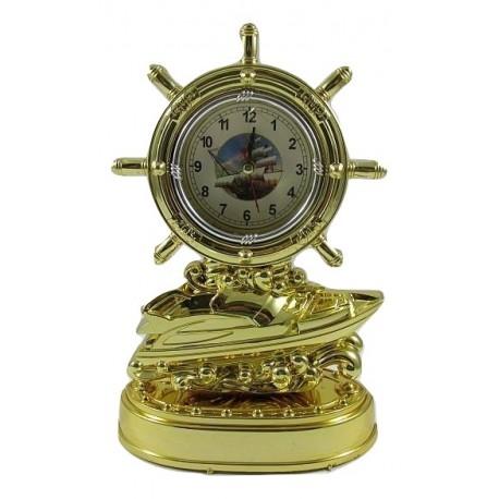 Zegar z budzikiem statek ster
