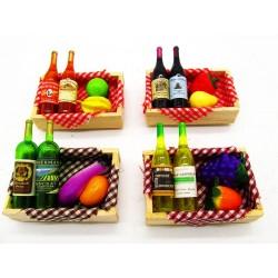 Magnes ozdobny na lodówkę skrzyneczka z winem i owocami