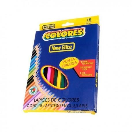 Kredki New Elite szkolne ołówkowe, 18 kolorów