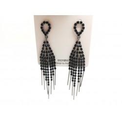 Kolczyki srebrne wiszące długie pałeczki, czarne cyrkonie
