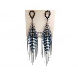 Kolczyki srebrne wiszące długie pałeczki, niebiesko/srebro/czarne cyrkonie