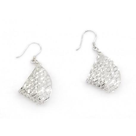 Piękne modne kolczyki srebrne ażurowe wzór siatka, próba 925