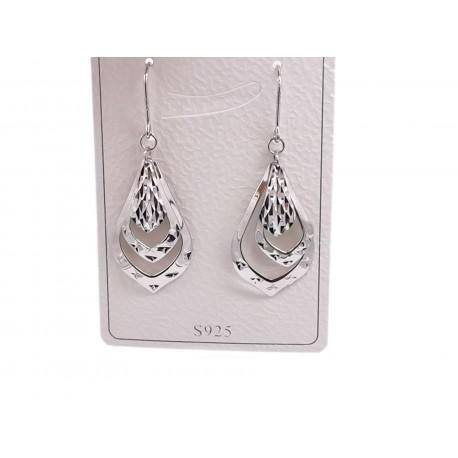 Piękne modne kolczyki srebrne wzór łza, próba 925