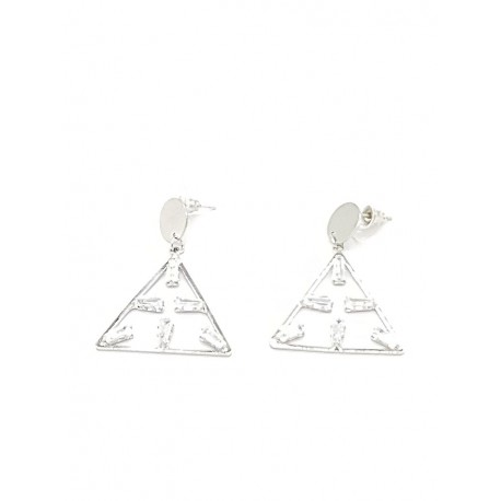 Kolczyki srebrne wiszący trójkąt cyrkonie