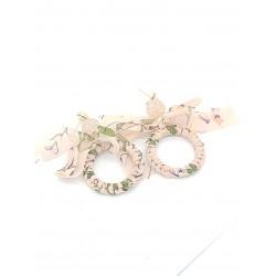 Piękne kolczyki złote wiszące koła boho ażurowe różowe