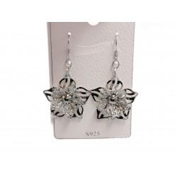 Piękne modne kolczyki srebrne duży kwiatek, próba 925
