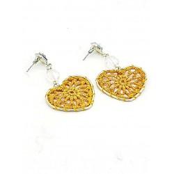 Piękne kolczyki złote wiszące ażurowe serca kolor żółty
