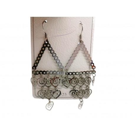 Piękne modne kolczyki srebrne trójkąt z wiszącymi sercami, próba 925