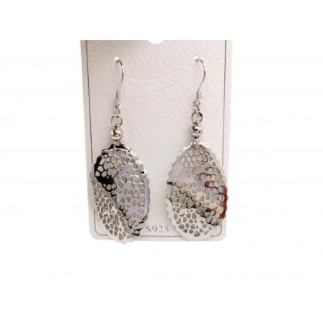 Piękne modne kolczyki srebrne ażurowe elipsa, próba 925