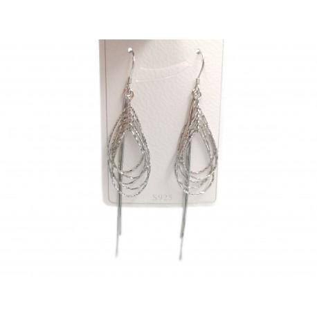 Piękne modne kolczyki wzór łza z wiszącymi srebrnymi cienkimi pałeczkami, próba 925