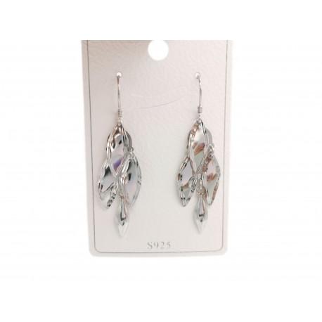 Piękne modne kolczyki srebrne wiszące liście, próba 925