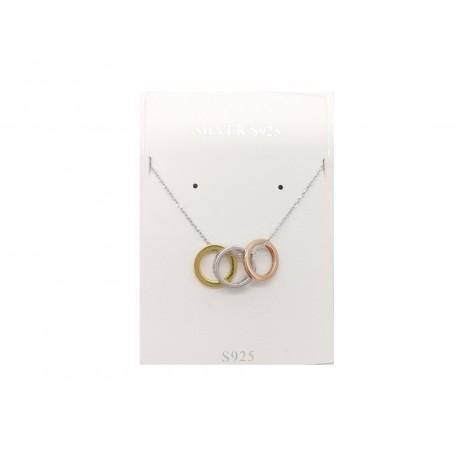 Piękny modny łańcuszek naszyjnik srebrny z wiszącymi trzema kółkami, próba 925