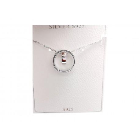 Piękny modny łańcuszek naszyjnik srebrny kółko, próba 925