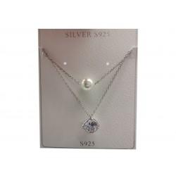 Piękny modny łańcuszek naszyjnik srebrny, próba 925
