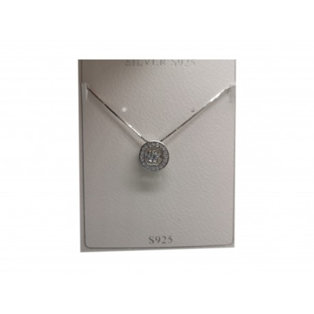 Piękny modny łańcuszek naszyjnik srebrny kółko z kwiatkiem w środku, próba 925