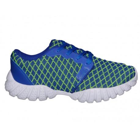 Adidasy damskie lekkie niebiesko/zielone w kratke buty sportowe