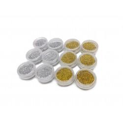 Brokat ozdobny do paznokci pyłek srebrny i złoty do hybryd