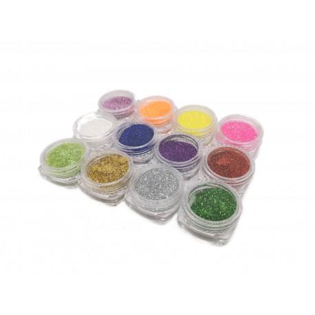 Brokat ozdobny do paznokci pyłek do hybryd, 12 kolorów