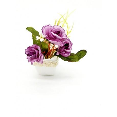 Magnes ozdobny na lodówkę doniczka z kwiatami