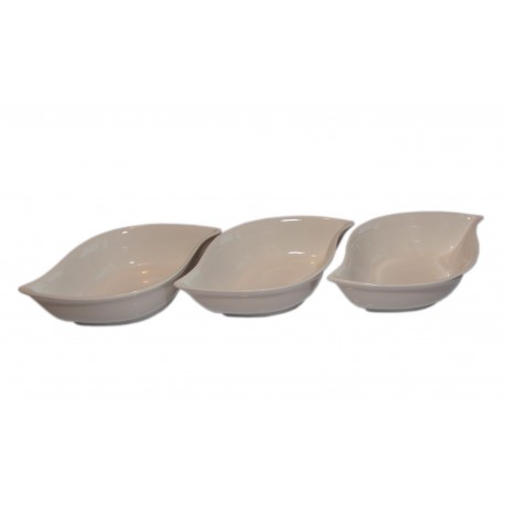 Miseczki do dipów i sosów porcelanowe, zestaw 3 szt owalne
